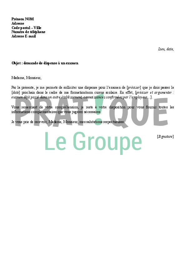 exemple lettre de demande