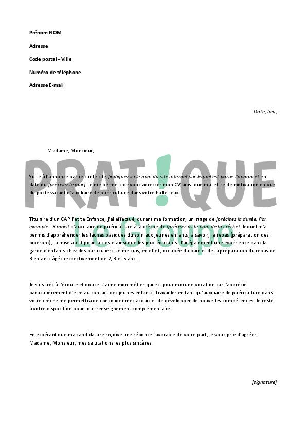lettre de motivation auxiliaire petite enfance