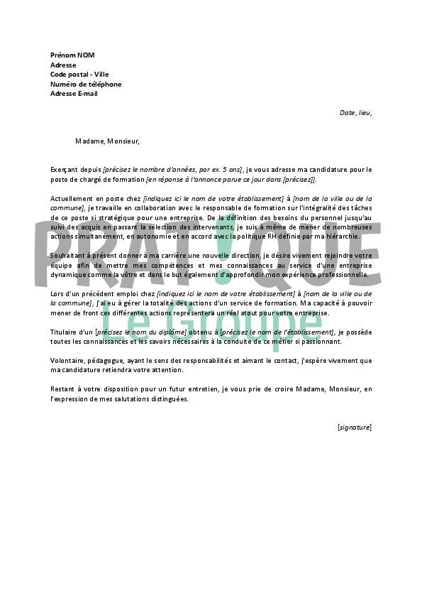 Lettre de motivation pour un emploi de charg de formation confirm  Pratiquefr
