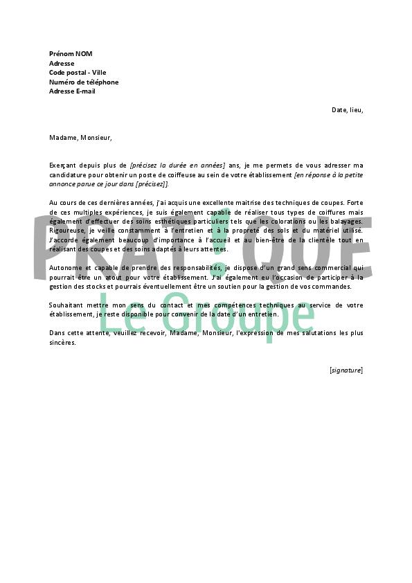 lettre de motivation coiffeuse confirmee