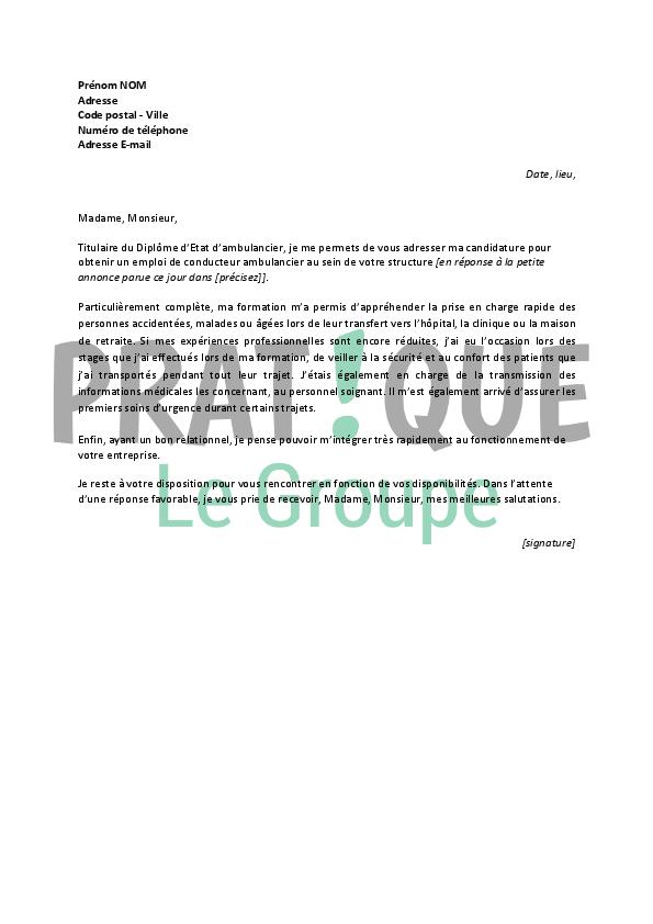 lettre de condidature