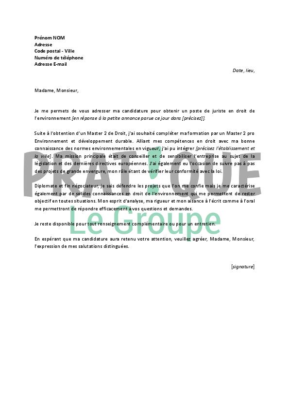lettre motivation juriste