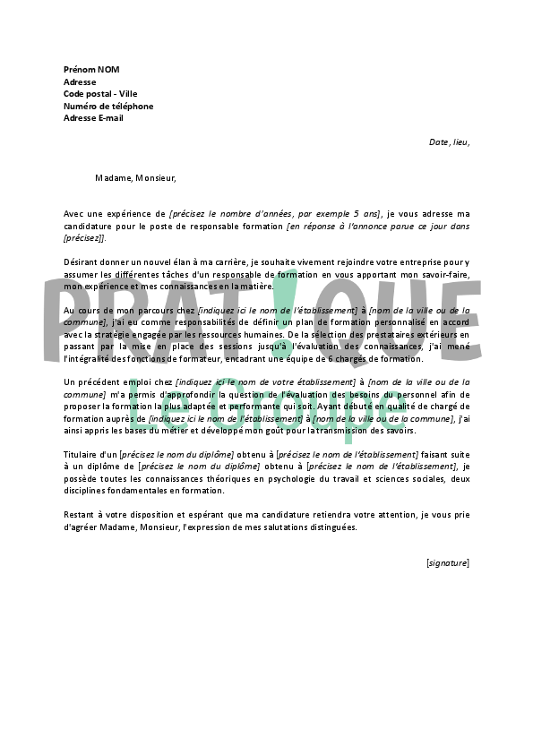 lettre gratuite de motivation