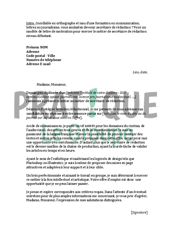 lettre de motivation secretaire