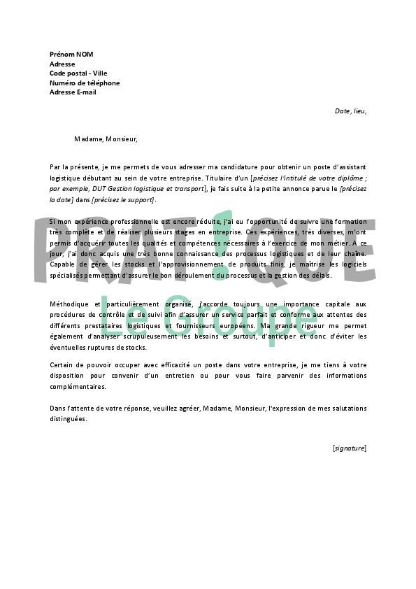 lettre de motivation logistique debutant