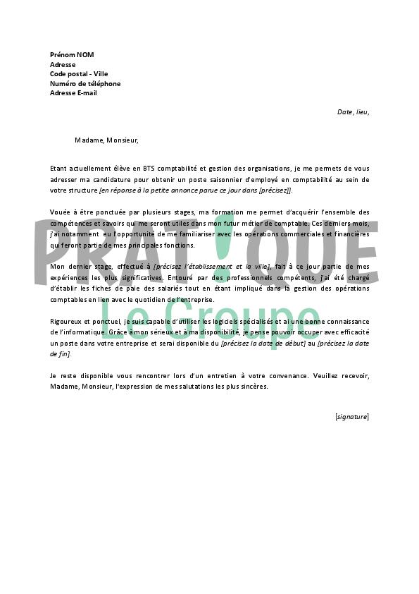 lettre motivation ete