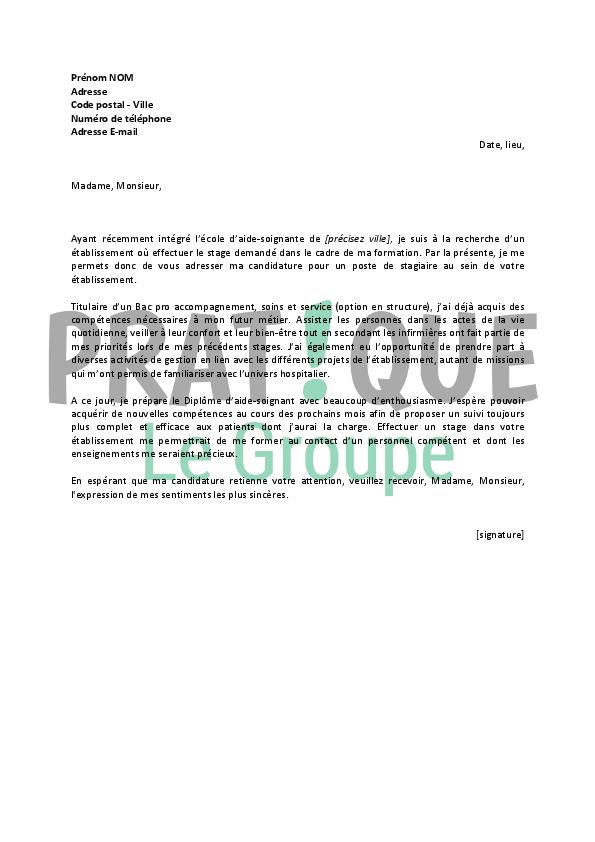 lettre de motivation pour aide soignante