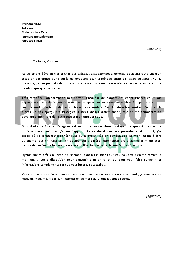 lettre de motivation master chimie
