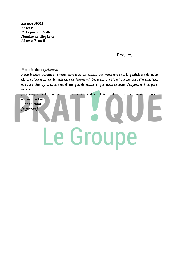 Message De Remerciement Pour Un Cadeau : message, remerciement, cadeau, Lettre, Remerciement, Cadeau, Naissance, Pratique.fr