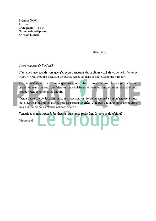 Lettre De Remerciements Dun Parrain Pour Le Baptme Civil