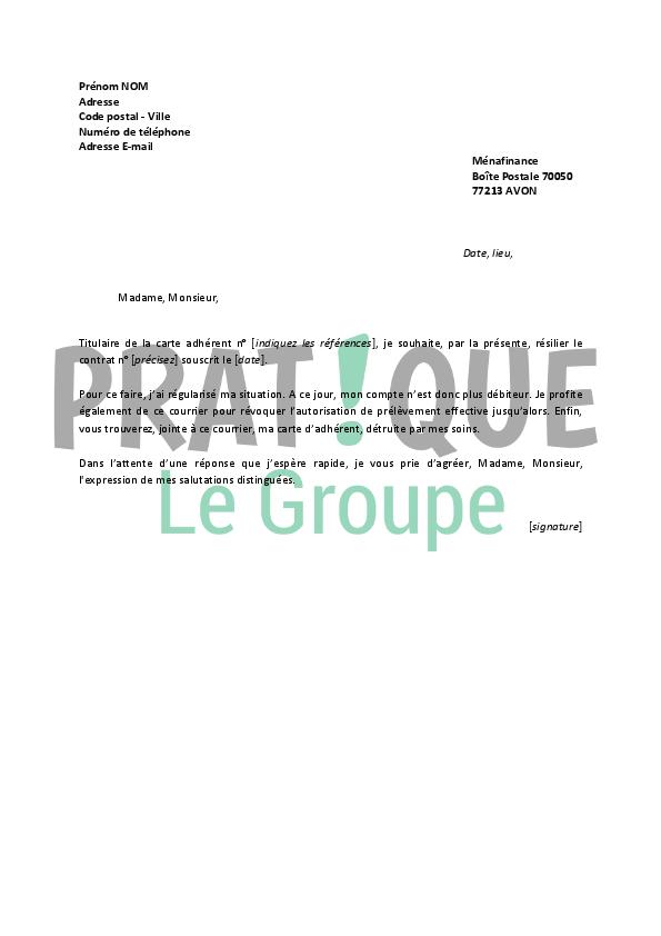 lettre de resiliation banque accord auchan