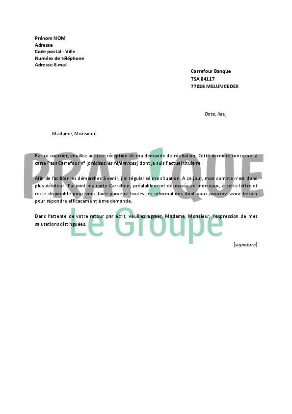 lettre resiliation carte