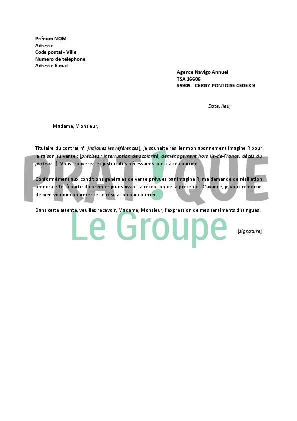 Lettre de rsiliation Imagine R  Pratiquefr