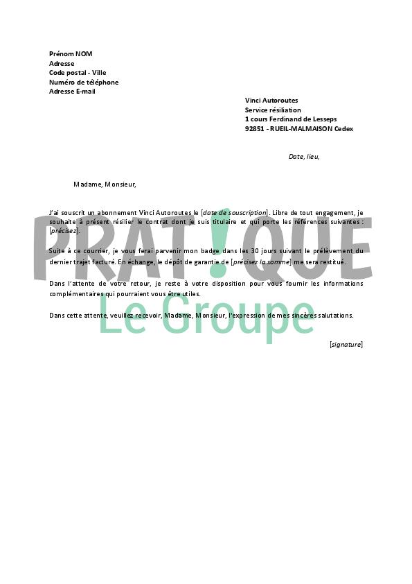 lettre resiliation telepeage vinci