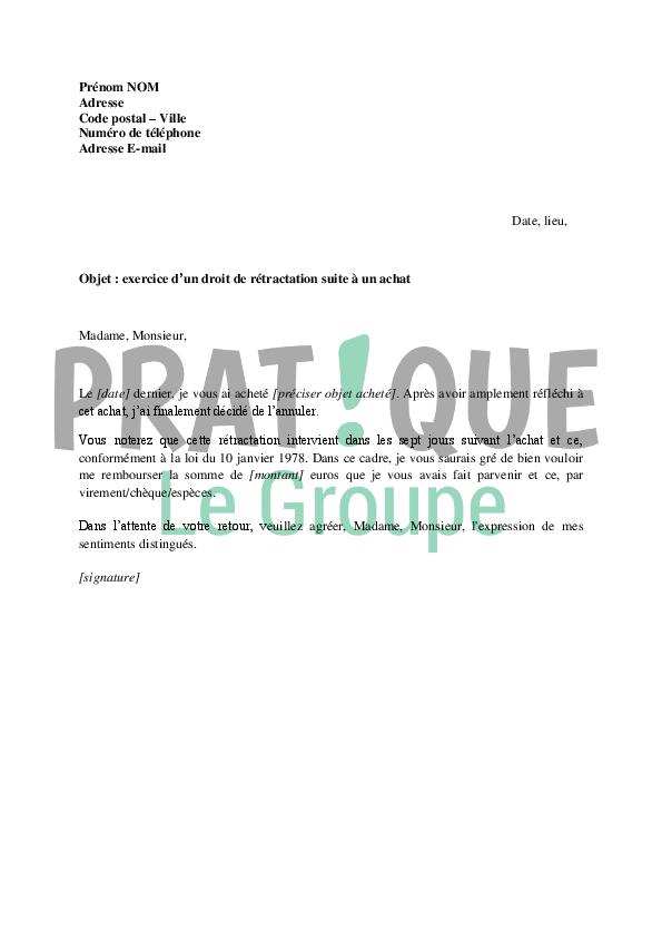 photo lettre de retractation modele lettre