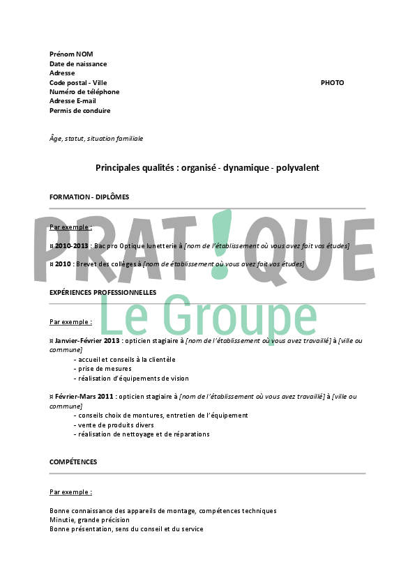 modele cv apprentissage alternance