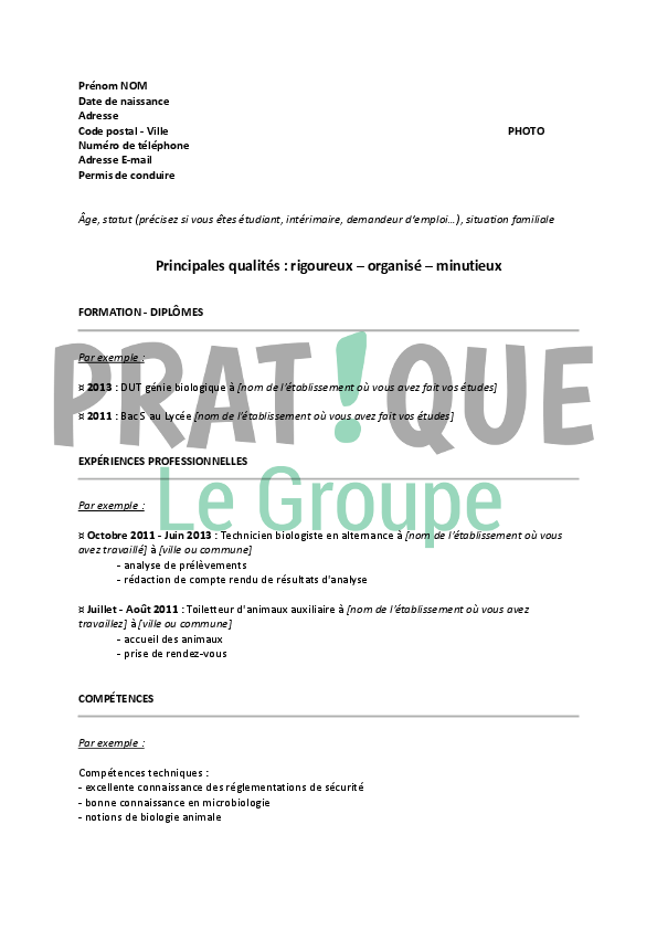 exemple de cv apprentissage cuisine
