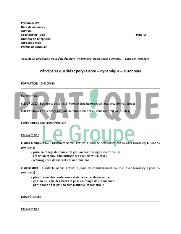 image format lettre administrative modele cv