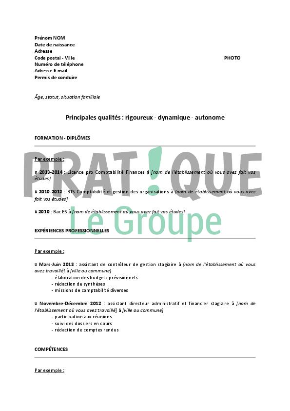 exemple de cv stage pdf