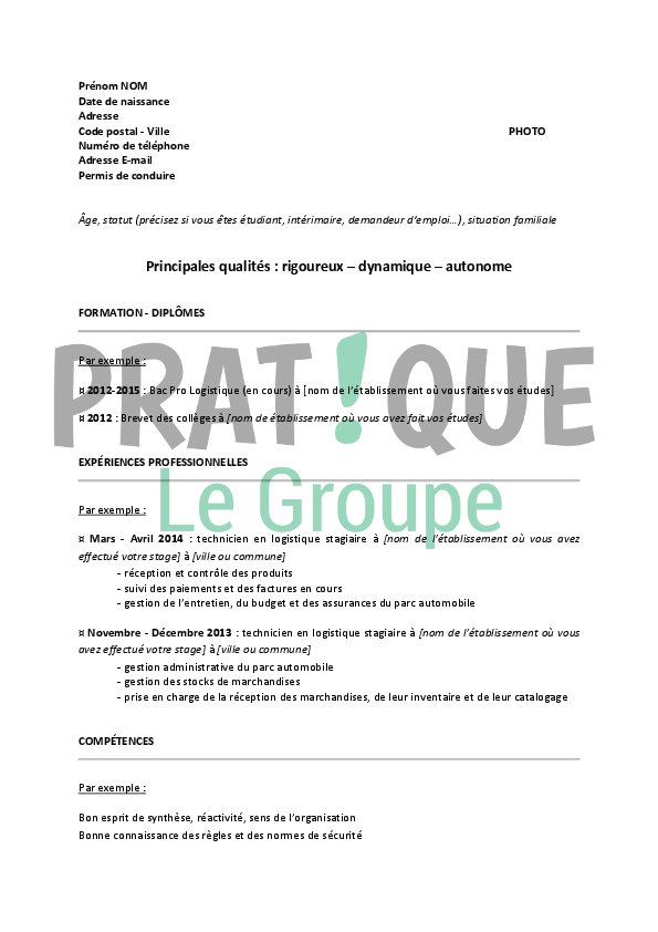 modele de cv pour convention de stage
