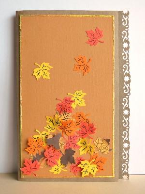 Windswept Autumn Leaves Birthday Card AllFreePaperCrafts Com