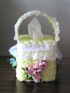 Lacy Flower Basket Tissue Box Cover