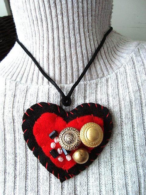 Felt Heart Brooch Or Pendant Necklace