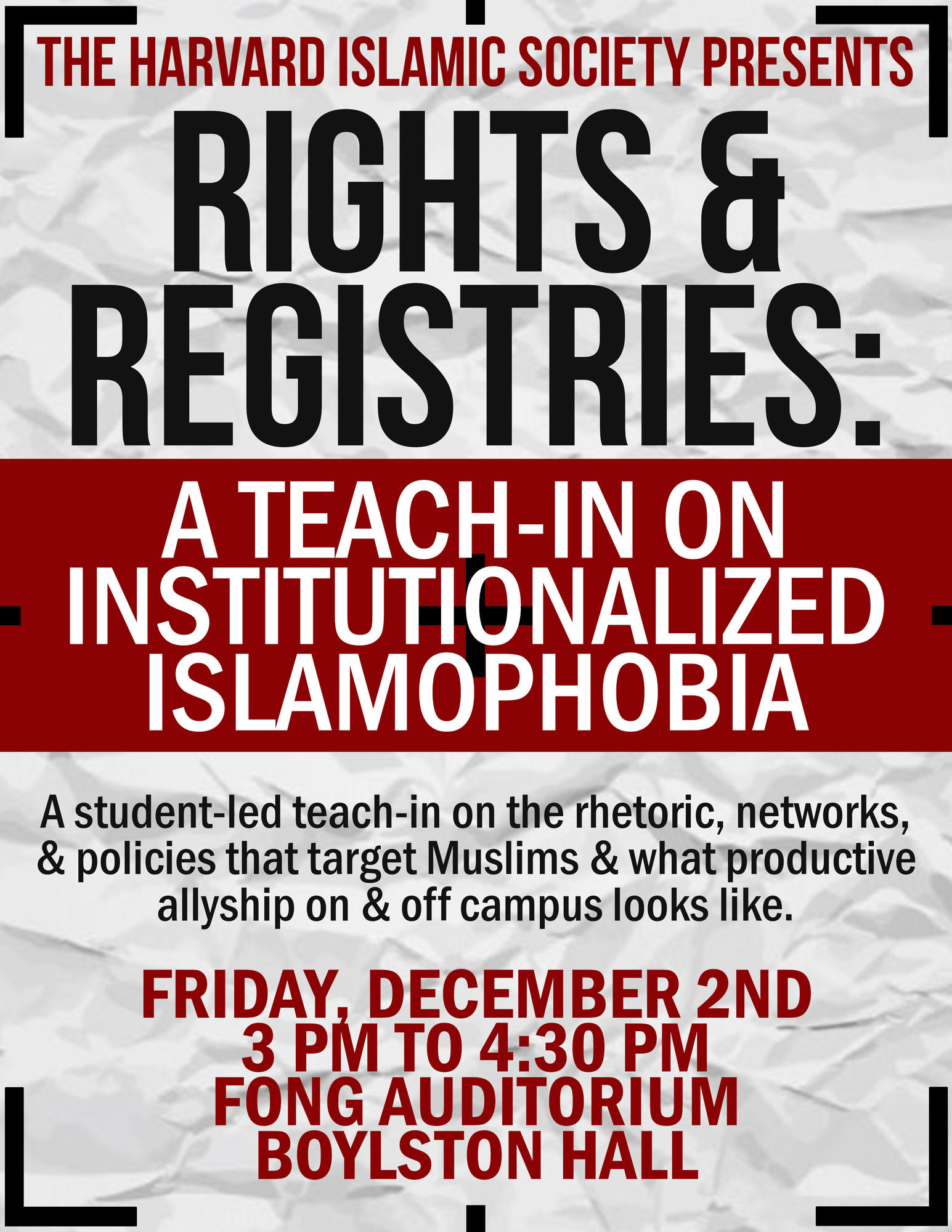 Harvard Islamic Society Rights And Registries A Teachin