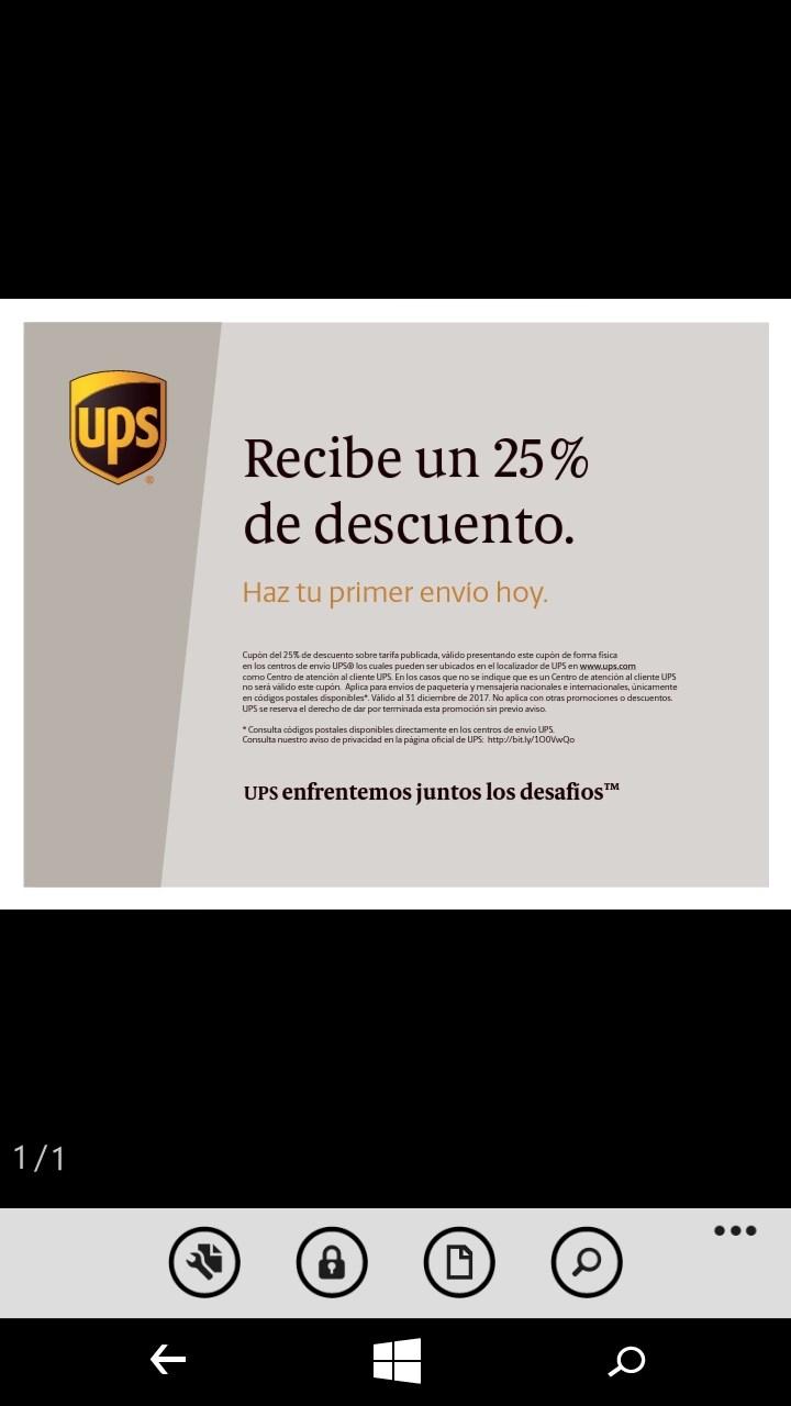 25 De Descuento En Envios Por UPS
