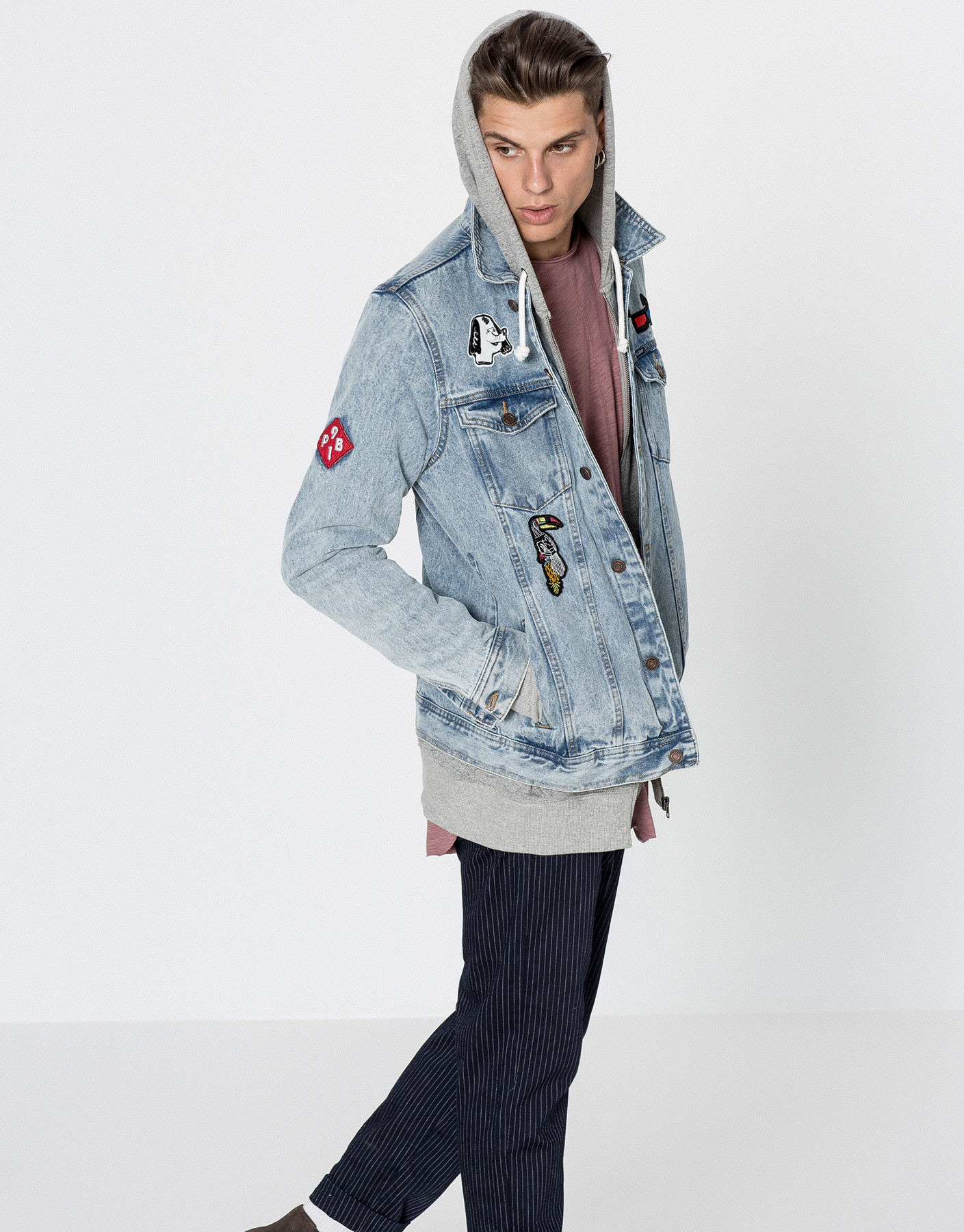 Image result for mens patch denim jacket pull and bear