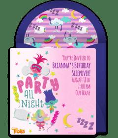 free sleepover party online invitations
