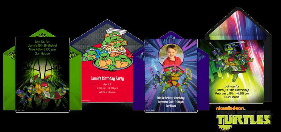 free ninja turtles invitations teenage
