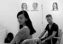 Japanese actress Rila Fukushima and artistPascal Möhlmannat Gallery Naruyama, Tokyo. Photo Chikashi…