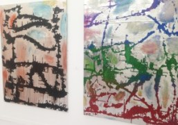 Paintings by Chris Martin in Anton Kern Gallery booth atFrieze New York…