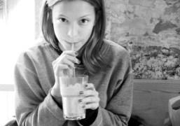 Annabelle Dexter-Jones drinks orange juice at The Kooka Boora Cafe, 62 Rue…