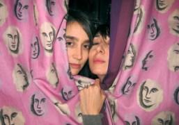 Natacha Ramsay and Camille Bidault Waddington behind Pierre Le Tan curtains at…