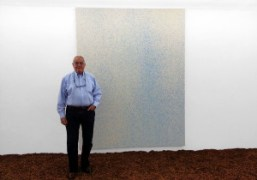 Famous gallerist Irving Blum visiting Lucien Smith'sRain Paintingshow at theOhWow Gallery,Los Angeles….