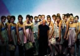 Giorgio Armani at the end of his Emporio Armani S/S 2014 show,…