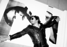 Olivier Zahm with a gift poster from M/M Parisat Purple Institute, Paris….