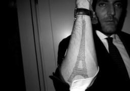 An Eiffel Tower tattoo at the Hotel Principe di Savoia, Milan. Photo…