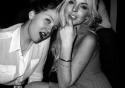 Caroline Gaimari and Lindsay Lohan at the BLK DNM x Purple party…