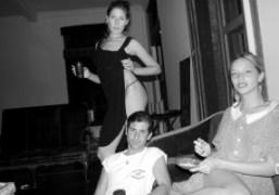 Stella Schnabel, Andre Saraiva, and Annabelle Dexter-Jones at Stella's apartment, New York….