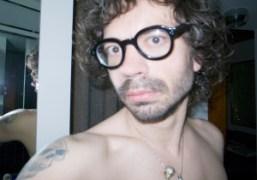 Olivier Zahm wearing Aurel Schmidt's glasses at the Bowery Hotel, New York….