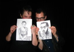 Olympia Le-Tan and Spencer Product holding the portraits Sean Lennon drew for…