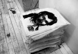 A stack of Charles Manson silkscreens by Will Boone at Karma,New York….