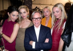 Tommy Hilfiger and the Courtin-Clarins sisters backstage at the Tommy HilfigerF/W 2012…