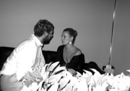 Stefano Pilati and Kate Moss backstage at the YSL Spring Summer 2010,…