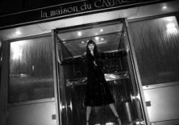 Betony Vernon outside La Maison du Caviar, Paris. Photo Olivier Zahm