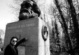 Miltos Manetas in front of Karl Marx's grave at Highgate Cemetary, London….