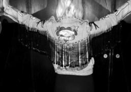 Madeleine Østlie's new Ashish jacket at Shunt, London. Photo Paula Goldstein
